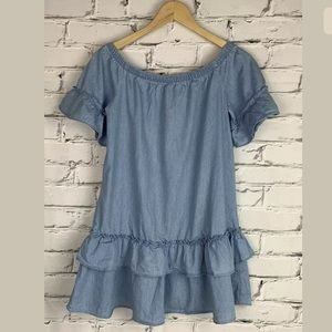 Forever 21 Womens Chambray Tunic Blouse Top Small